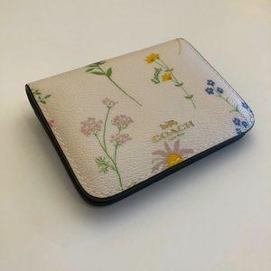 COACH   Floral leather mini Id / cardholder case